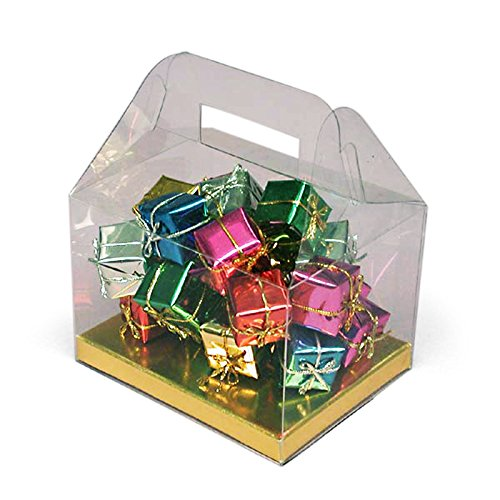 Clear PVC Gable Boxes with Gold Bottom   Quantity: 24   Width: 4