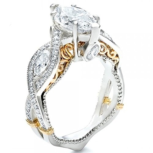 FENDINA Women's Infinity Rings Vintage Pear Cut CZ Twisting Cross Shank Bridal Engagement Wedding Halo Promise Eternity Rings (gold-plated-base-white, 5)