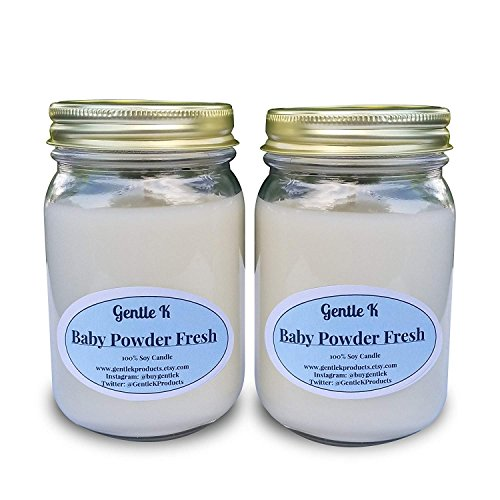 - Gentle K 100% Hand-Poured All Natural Clean Burning Soy Scented Candles- 13 Fragrances - 16oz Glass Mason Jar (Baby Powder Fresh) with Therapeutic Essential Oil (Set of 2) - Similar to Larger Brands