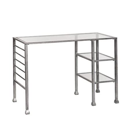 Southern Enterprises HO0776 Distressed Silver Metal Writing Desk with Glass Top