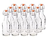 HomEquip 12 Pk,16 Oz Reusable Glass Beer Bottles - Grolsch Style with Easy Swing Top Caps: Used for Home Brewing, Wine Fermenters & Kombucha Tea Bottling (Clear)