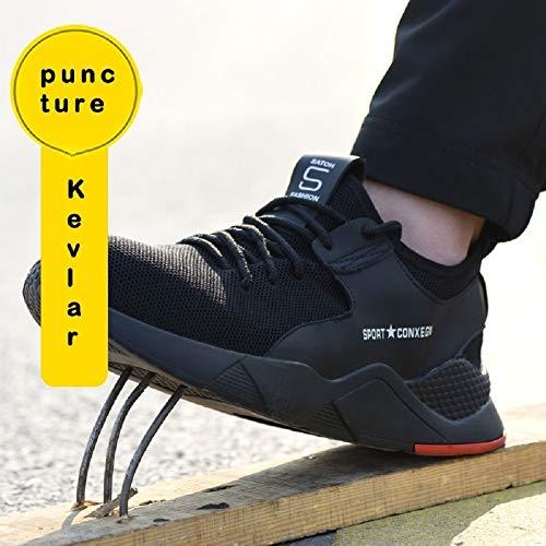 tqgold Chaussures de sécurité pour hommes / femmes, bout en acier, baskets légères, respirantes, pour randonnée, marche… 3