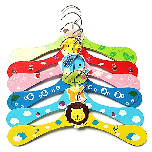 1 pcs Colorful Cartoon Animal Children Hanger Infant Kid Wooden Coat Clothes Hooks Living Room Bathroom Supplies 6Colors 1Pcs by Sky/kid