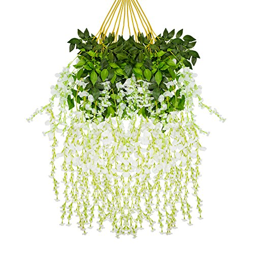 Ivyue 12sPack Wisteria Vine Artificial Silk Wisteria Lane Rattan Fake Wisteria Artificial Flowers Garland Hanging Flowers Wisteria Bush Home Garden Party Wall Wedding Decoration 3.6feet (white)