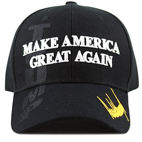 The Hat Depot Exclusive 45th President Trump Make America Great Again 3D Cap (Black-Flag)