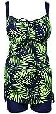 QZUnique Women's Plus Size Printed 2 Pieces Tankini Top & Boyshorts Swimsuits Swimwear Emerald Green US 18-20W