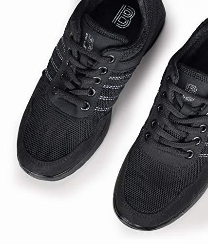 Bosanova Cámara Aire Deportivas para y a Puntadas Mujer de Contraste con Negro Zapatillas TrTnFAg