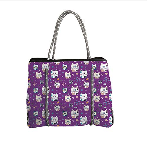 ipurpose Beach Bag Tote Bags,Cat,Doodle Cartoon Design Lovely Baby Kittens Pattern Ornate Hearts Swirls Circles Artwork Decorative,Multicolor,Women Casual Handbag Tote Bags ()