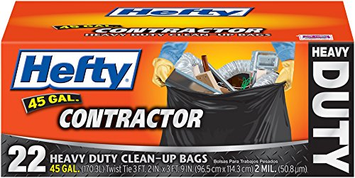 Hefty Contractor Heavy Duty Clean-Up Bags (Twist Tie, 45 Gallon, 22 Count, Pack of 4)