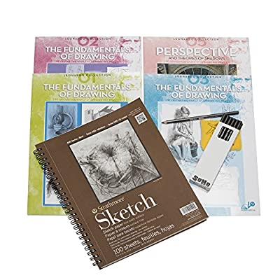 Leonardo Collection Learn To Draw Set Includes Strathmore 100pg Spiral Sketch Book, 12pk Soho Graphite Pencils and 4 Pack Fundamentals of Drawing Instructional Books