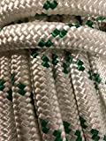 9/16'' Double Braided Polyester Rope, White/Green (100)