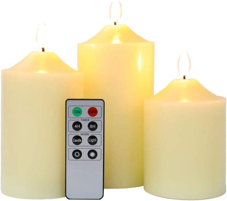 JHY DESIGN 3D Velas sin llama 10//12//15 cm alto Cera real Vela de bater/ía Velas LED parpadeantes temporizadores de control remoto de 8 teclas para decoraci/ón navide/ña de la fiesta de bodas juego de 3