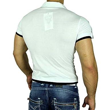 Subliminal Mode - Polo Homme Cintré Manches Courtes Tendance SB-301 Tee Shirt-Noir et rose-Small PRrWnz