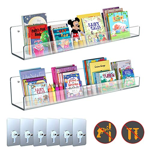 VOSTOR Clear Acrylic Shelves 24 inch, 2 Pcs Wall Ledges Invisible Display Shelves, Kids Bookshelves with 6 Pcs No Drilling Adhesive Hooks Hanging Organizer for Kitchen/Bathroom/Bedroom/Office