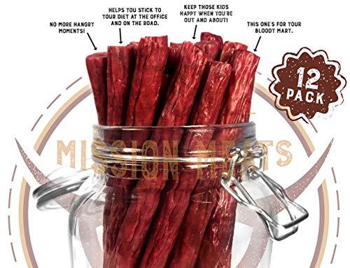 Keto Sugar Free Grass-Fed Beef Snacks Sticks Non-GMO Gluten Free MSG Free Nitrate Nitrite Free Paleo Healthy Natural Meat Sticks Beef Jerky