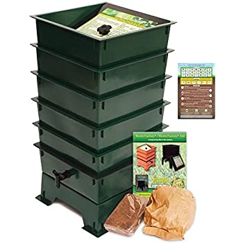 Image of Home and Kitchen Worm Factory DS5GT 5-Tray Worm Composting Bin + Bonus What Can Red Wigglers Eat? Infographic Refrigerator Magnet - Vermicomposting Container System - Live Worm Farm Starter Kit for Kids & Adults