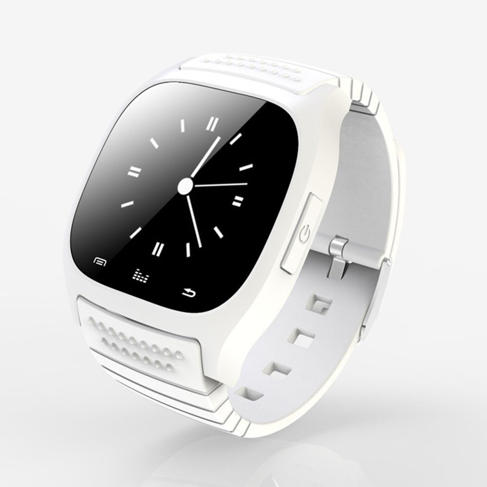 Wearable Bluetooth Smart Watch M26 Smart Health Pedometer Sleep Monitor Alert Wrist Watch Phone Uwatch SIM Card Camera Slot Android [Full Functions] iOS[Partial Functions](White)