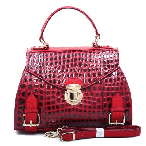 Dasein Fashion Women's Buckled Patent Elegant Croco Satchel Shoulder Bag Handbag Clutch Purse w/ Bonus Strap -Red