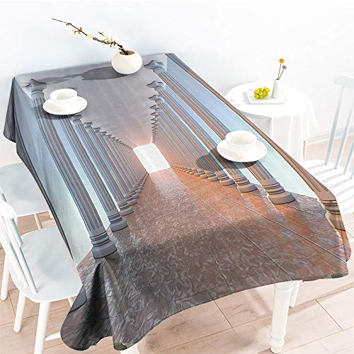 Jinguizi Decorative Fabric Table Cover Corridor with Columns Marble Floor Old Library Classic Government Buildings Vintage Decofor Party/Picnic TableclothAmber(60 by 102 Inch Oblong -