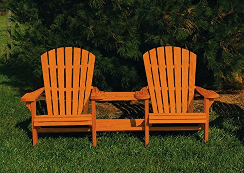 Pressure Treated Pine Fan Back Adirondack Settee with Table Amish Made USA- Cedar Stain Fan Back Settee
