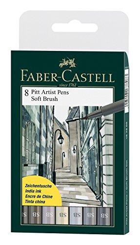 Faber-Castell Pitt Artist Soft Brush Pen, Set of 8, Shades of Grey - Pitt Brush Faber Castell