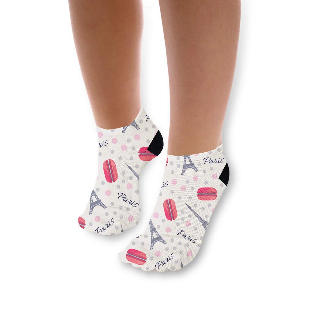 Macaroon With Eiffel Tower Paris Pattern Unisex Toddler Baby Ankle Socks Funny Novelty Kids Socks Polyester & Polyester Blend - 3 Pack by Cute Rascals