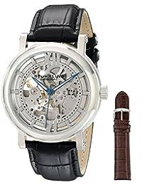 Stuhrling Original Men's 426AL.SET.01 Classic Winchester XT Automatic Skeleton Black Leather Additional Strap Watch Set