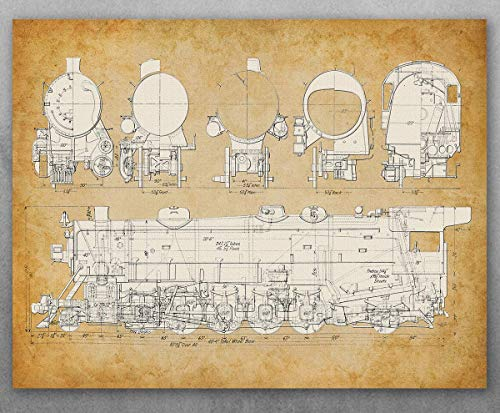 Poster - USRA Light Santa Fe Steam Locomotive Train Patent - Choose Unframed Poster or Canvas - Makes a Great Gift for Rail Fans