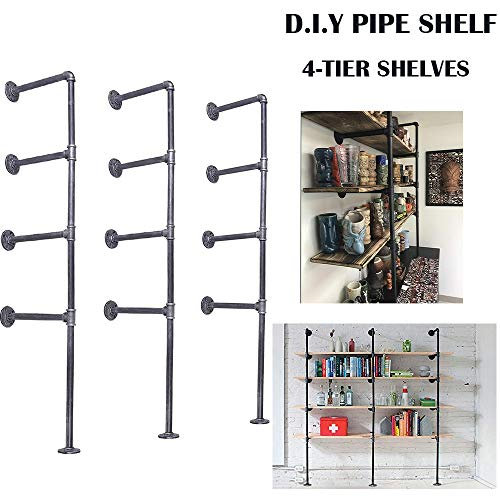 Rustic Iron Pipe Shelf-56 Inch Bracket Kit-Industrial Wall Shelves-4 Tier Ceiling Haning Shelving-3 Columns DIY