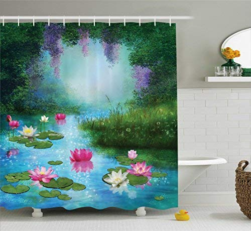 TYANG Nature Shower Curtain, Fantasy Pond with Water Lilies Floating Romantic Lotus Fairy Tale Digital Art, Fabric Bathroom Decor Set with Hooks, 60 W x 72 L inches, Aqua Pink - Gingham Green Pink Toile