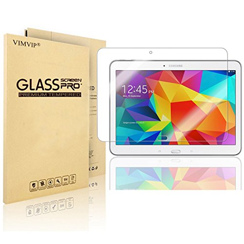 Galaxy Tab 4 10.1 Glass Screen Protector,VIMVIP Samsung Galaxy Tab 4 10.1 Screen Protector Premium HD Clear Film / Ultra High Definition Invisible and Anti-Bubble Crystal Shield with Free Lifetime Replacement Warranty - VIMVIP Retail Packaging (Urethane Gap Guards)