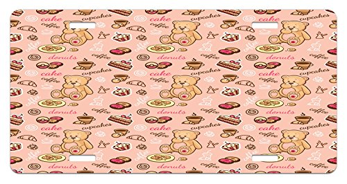 Ambesonne Kids License Plate, Teddy Bear with Cupcakes Cookies Donuts Cakes Cute Playroom Cartoon Print, High Gloss Aluminum Novelty Plate, 5.88 L X 11.88 W Inches, Coral Pink Sand Brown
