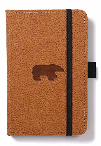 Dingbats Wildlife Pocket A6 (3.2 x 5.7) Portrait Hardcover Notebook - PU Leather, Micro-Perforated 100gsm Cream Pages, Inner Pocket, Elastic Closure, Pen Holder, Bookmark (Lined, Brown Bear)