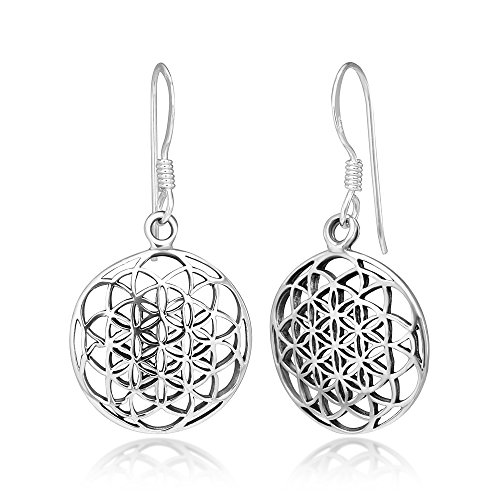 Sterling Silver Filigree Flower - 925 Sterling Silver Filigree Flower of Life Mandala Cut Open Round Dangle Hook Earrings, 33 mm