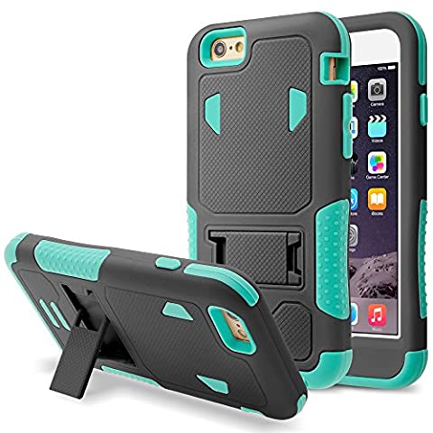iPhone 6S Case, iPhone 6 Case,RANZ (Teal/ Black) Rugged Impact Armor Hybrid Heavy Duty with Kickstand Cover For Apple iPhone 6S /iPhone 6 (Iphone 6 Case Armor Rugged Black)