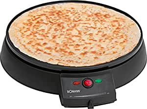 Bomann CM 2221 CB - Máquina de hacer crepes, plato de 29 cm, 900 W, color negro