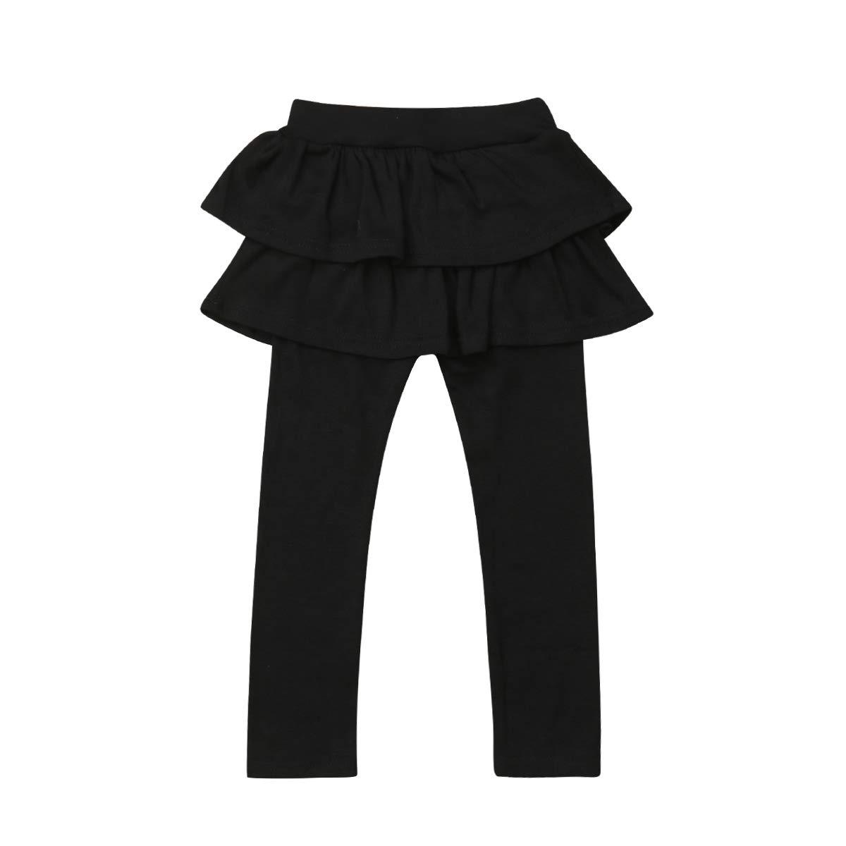 Orz.orange Kids Girls Lace Ruffle Leggings Gauze Culottes Tutu Skirt Leggings Pants