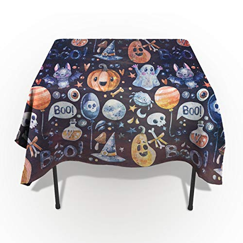60 x 140 Inch Rectangle Tablecloth - Funny Halloween Cute Pattern Rectangular Polyester Table Cloth Table Covers Linen Decor - Great for Kitchen Table, Parties, Holiday Dinner, Wedding & More ()