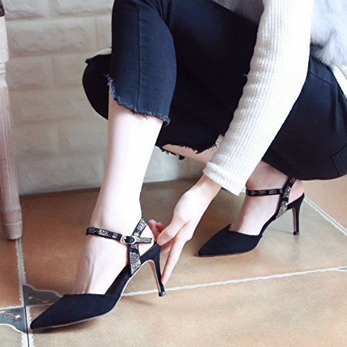 Matrimoni Party paillettes scarpe e estate black Ladies' sottile alto tacco YMFIE sandali caviglia RUBqvw