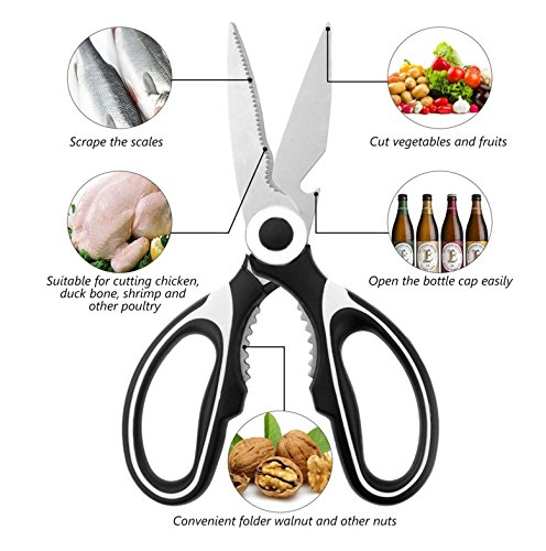 PepperZ Professional Chef Kitchen Shears: Stainless Steel Multi Purpose Heavy duty Sharp utility Kitchen Scissors for Poultry, Meat, Nuts, Herbs and other culinary cooking items. 100% safe & effective (Chicken Clear Wire)