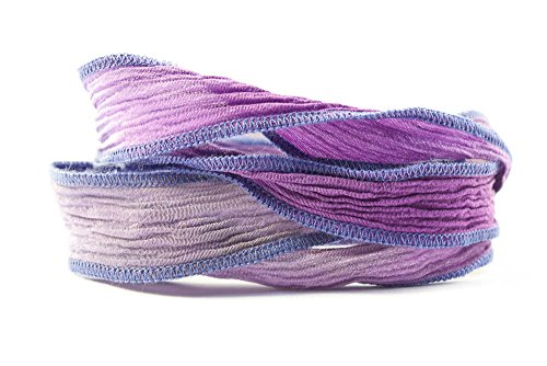 - Stormy Iris Handmade Silk Ribbon - Mixed Purple, Light Blue and Gray Blend with Blue Edges