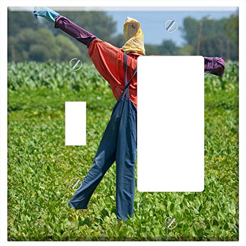 (1-Toggle 1-Rocker/GFCI Combination Wall Plate Cover - Scarecrow Deterrent Field Crops Nature Plants)