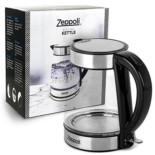 Zeppoli Electric Kettle - Glass Tea Kettle (1.7L) Fast Boiling and Cordless, Stainless Steel Finish Hot Water Kettle – Hot Water Dispenser - Glass Tea Kettle, Tea Pot Water Heater by Zeppoli (Image #7)
