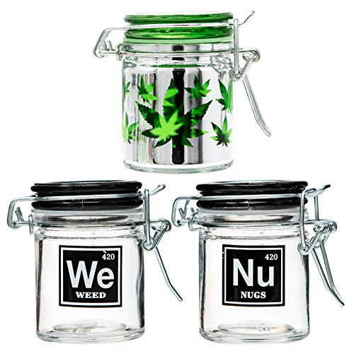 Nug Jar - Airtight Glass Herb Stash Jar Set of 3 - Weed, Nugs, and Pot Leaf Designs, 1.5oz, 2.5 Inches