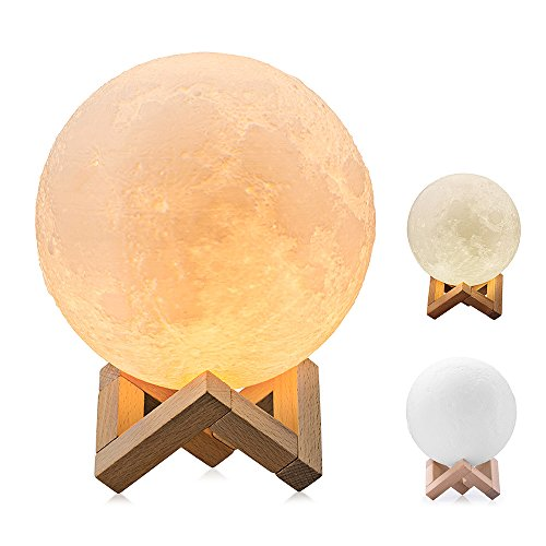 Moon Light, BRIGHTWORLD 3D Printing Moon Lamp Night Light, Stepless Dimmable and Touch Control Lunar light, White and Yellow Color with USB Recharging, 5.9in, PLA Material as Bedroom Desk Night - Returns Gap Free