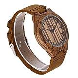Redear Handmade Cheap Wooden Watch Zebrawood Wrist Leather Watch for Boys Men