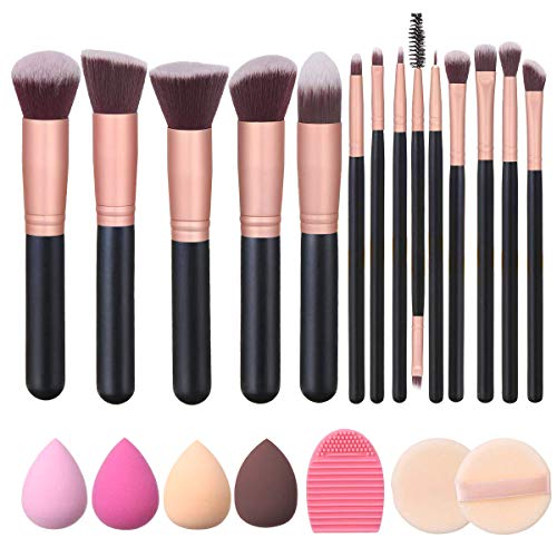 Akstore Makeup Brushes 14 Pcs Makeup Brush Set Travel makeup brush set with 4 Makeup Sponge Blender 2 Makeup Foundation Sponge Air Cushion Powder Puff 1 silicone brush cleaner (Rose Gold)