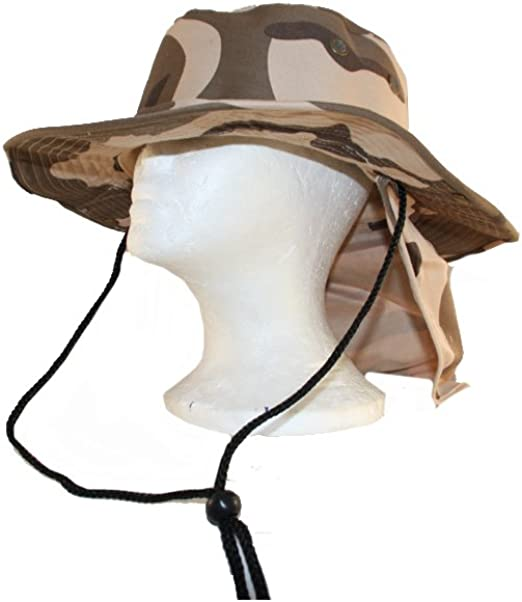 Boonie Outdoor Fishing Camping Neck Cover Bucket Sun Flap Hat Bush Cap Khaki