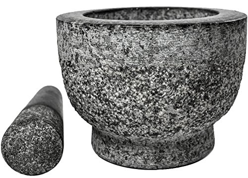 Mortar and Pestle unfinished granite set handmade in solid Molcajete Made For A Lifetime.