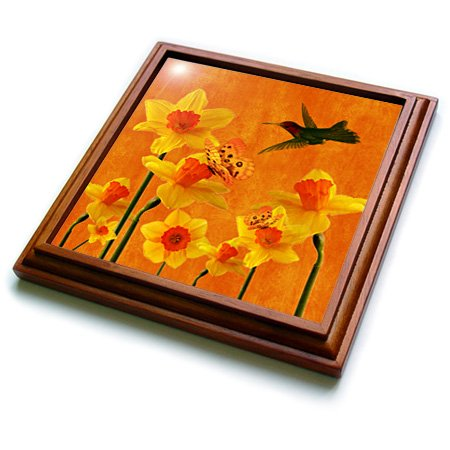(3dRose trv_79432_1 Daffodils March Birth Flower with Butterflies and Hummingbird Perfect for March Birthday Trivet with Ceramic Tile, 8 by 8